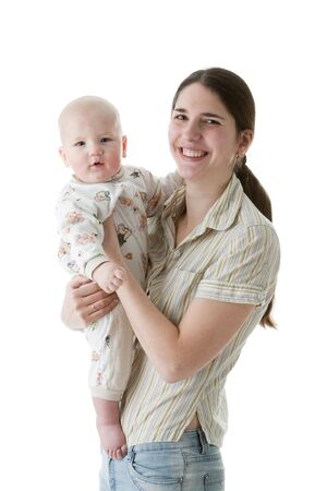 Happy family.  Mother and  her sweet  baby on a white background. Stock Photo - 6427605