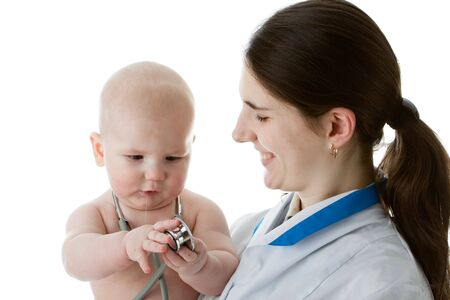 The female doctor with a stethoscope and the small patient on a white background. Stock Photo - 6427528