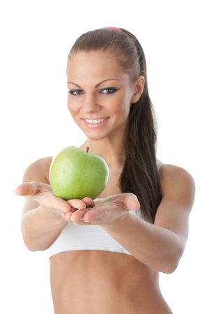 Young beautiful girl with apple in hands on a white background. Healthy food concept Stock Photo - 6427637