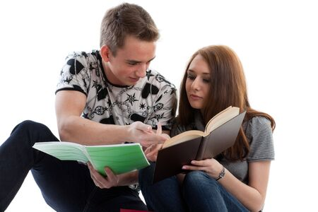 Two students prepare for examination on a white background photo