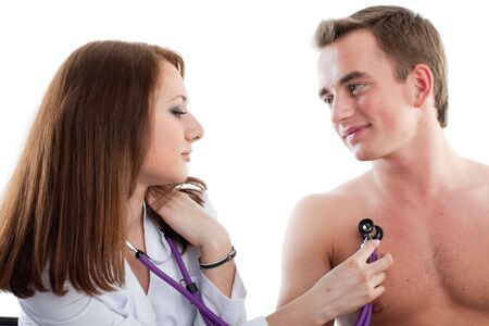 Female doctor and the male patient on a white background. photo