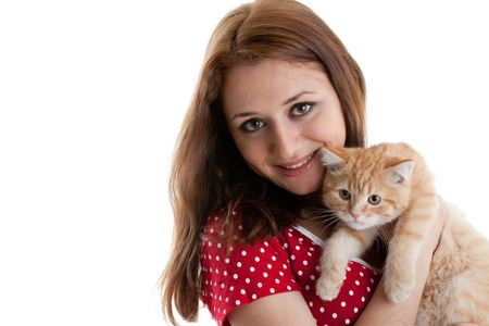 The happy young woman with a small amusing kitten on a white background. Stock Photo - 6465139
