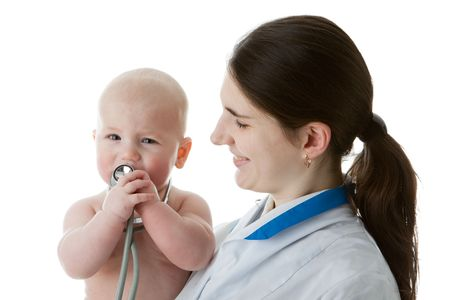 pediatrist: The female doctor with a stethoscope and the small patient on a white background.