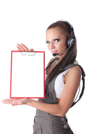 Business woman in  headset with clipboard on a white background Stock Photo - 6624857