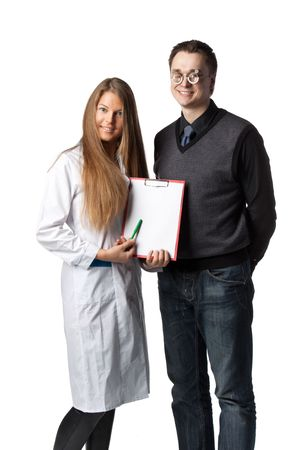 The beautiful  female oculist  with blank clipboard and  patient on a white background. Stock Photo - 6661917
