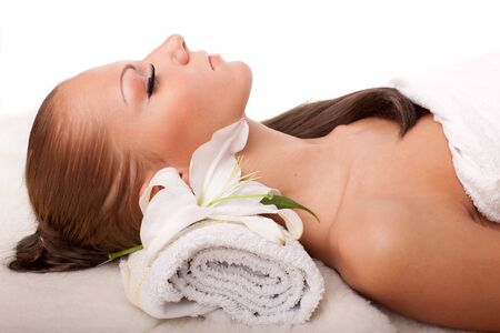 Young beautiful woman getting spa treatment  on a  white background Stock Photo - 6661945