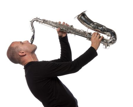 sax: Man with saxophone on a white background