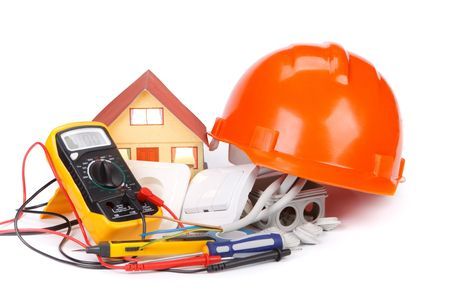 Electric equipment for apartment repair on a white background photo