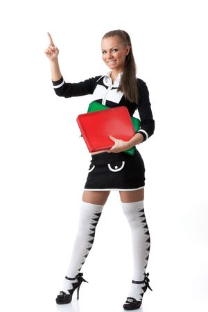 school girl sexy: The beautiful woman stand with coloured folders on a white background.