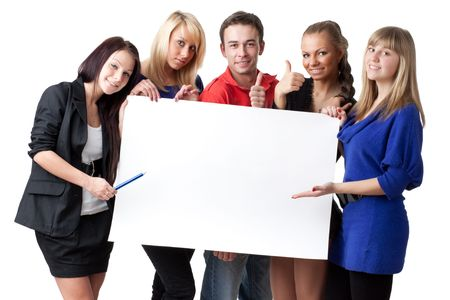 The group of young people holds the empty board for the text on a white background. Stock Photo - 6752534