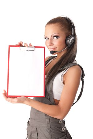 Business woman in  headset with clipboard on a white background Stock Photo - 6752569