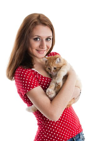 The happy young woman with a small amusing kitten on a white background. Stock Photo - 6878070