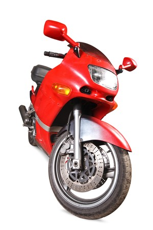 Red motorcycle  isolated on a white background. photo