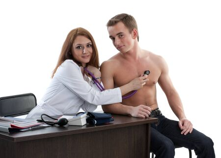 Female doctor and the male patient on a white background. Stock Photo - 7002074