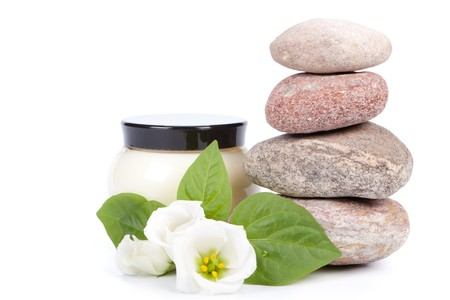 steadiness: Spa composition on a white background.