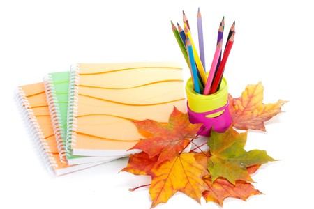 Writing-books, multi-coloured pencils in a cup and autumn leaves on a white background. Concept for Back to school. photo