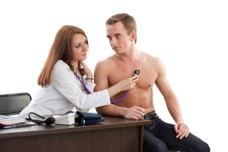 Female doctor and the male patient on a white background. Stock Photo - 7845690