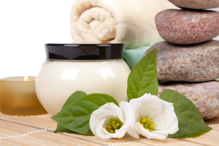 natural cosmetics: Spa composition on a white background.