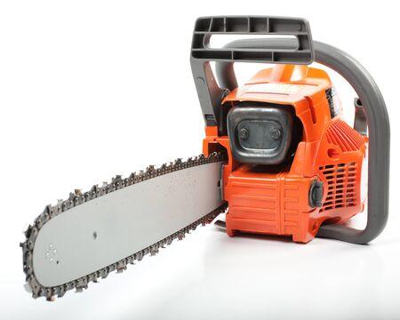 serrate: Orange chain saw on a white background.