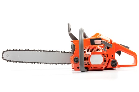 lumber: Orange chain saw on a white background.
