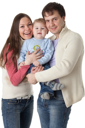 Young parents with their  sweet  baby on a white background. Happy family. Stock Photo - 8806992