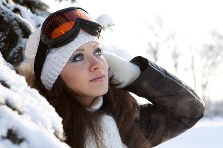 ski�r: Jonge, sportieve vrouw in ski glazen. Buitenshuis. Stockfoto