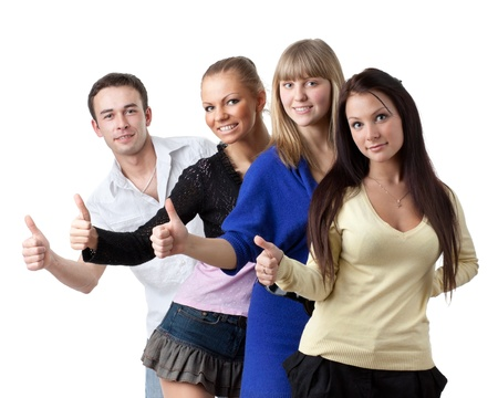 Group of young successful people showing a sign ok on a white background. photo