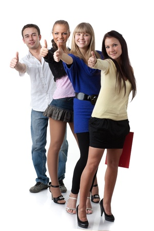 endorsement: Group of young successful people showing a sign ok on a white background. Stock Photo