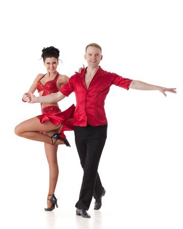 bailarin hombre: Joven pareja de baile sobre un fondo blanco. Foto de archivo
