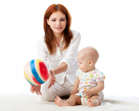 motherhood: Mother with sweet small baby on a white background. Stock Photo