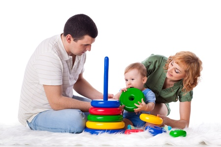 baby play: Happy family with sweet baby play  on a white background. Stock Photo