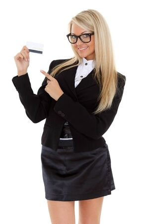Business woman with blank business card on a white background. photo