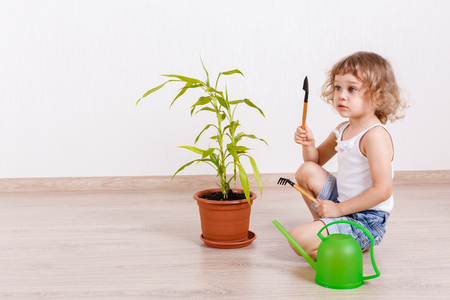 regar las plantas: Pequeña muchacha feliz con una regadera, herramientas de jardín y una planta en maceta se sienta en el suelo en una habitación.