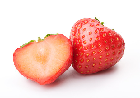 bacca: Fresh ripe strawberries on a white background