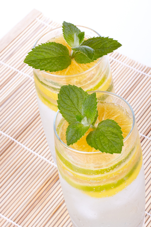 fruity: Summer fruity drink with ice on a mat. Stock Photo