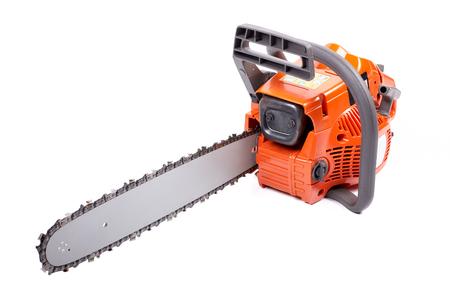 Orange chain saw on a white background.