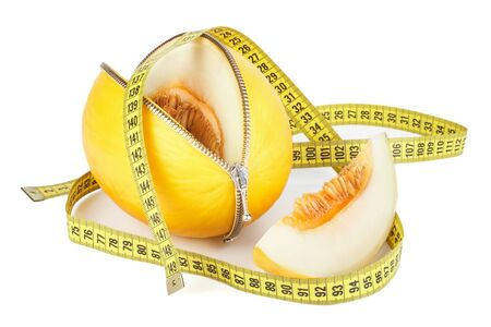 Unzipped melon and measuring tape. Healthy eating concept. Close up.