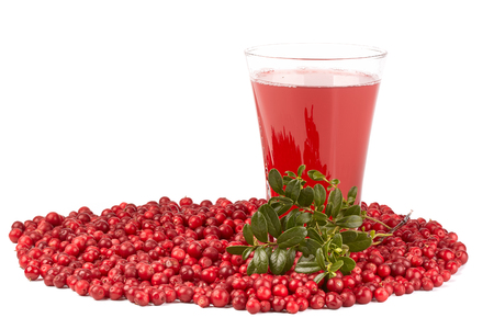 mountain cranberry: Fresh cowberry and berry juice glass on a white background