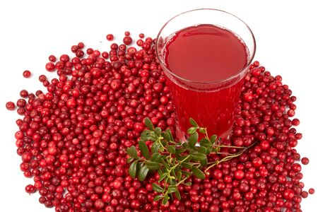 cowberry: Fresh cowberry and berry juice glass on a white background