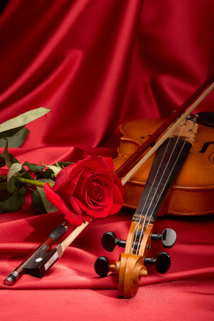 musical score: Violin (fiddle) and red rose lying on the perfect red satin fabric. String instrument.