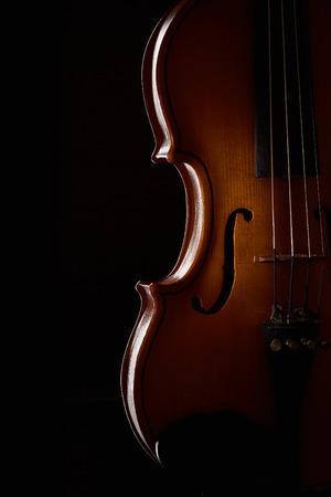 Violin on a black background. Stock Photo