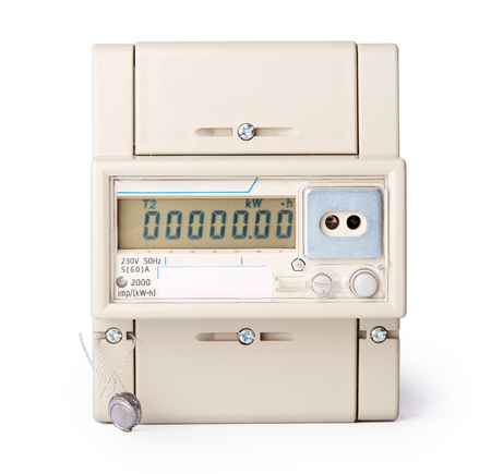 electricity tariff: Device for metering of electricity consumption. Electric meter on a white background.