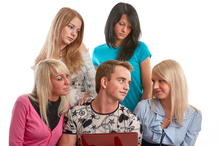 Group of students prepare for examination on a white background