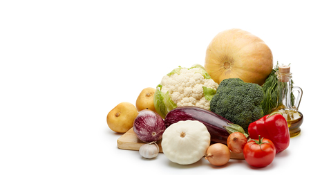 Fresh vegetables on a white background.