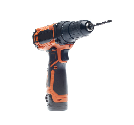 Cordless drill screw gun with drill bit isolated on a white background 写真素材