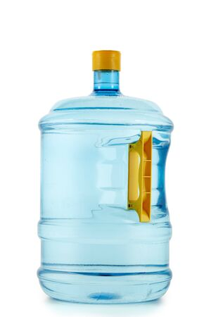 Big plastic water bottle isolated on white background. Fresh purified water in bottle for cooler. Potable pure water.