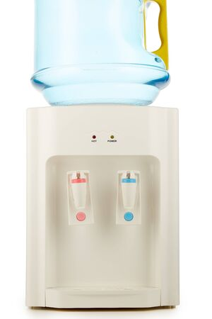 White water cooler with big blue plastic bottle full of purified waterisolated on white background. Potable pure water. Water-cooler for office and home. Bottled watercooler Фото со стока