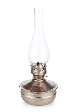 Vintage lampa naftowa na białym tle. Szklana lampa naftowa. Widok z góry.