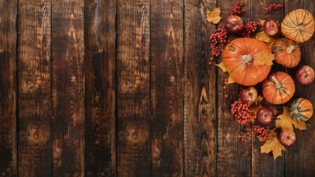 Festive autumn still life  with pumpkins, red apples, berries and leaves on dark  wooden background. Top view with copy space. Concept of autumn harvest, happy Thanksgiving  day or Halloween. 版權商用圖片