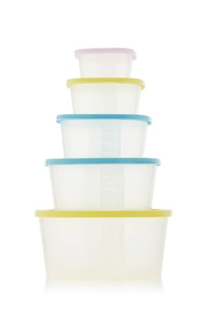 Set of empty transparent plastic containers for food isolated on white background. Lunch box. Ware of a warming up of food in a microwave and storages in the refrigerator.